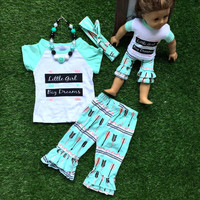 Kids Girls Toddler Ruffle Tops T-shirt +Pants +Hearband 3Pcs Outfits Set Girls Clothes Children Summer Clothing
