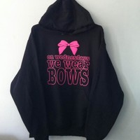 Pullover Hoodie - On Wednesdays We Wear Bows