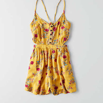 AEO Cutout Romper, Yellow