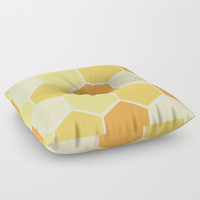 Yellow Honeycomb Floor Pillow by spaceandlines