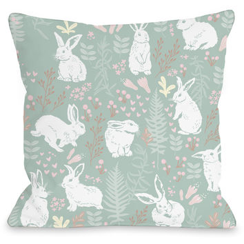 """Easter Bunny Print"" Indoor Throw Pillow by OneBellaCasa, 16""x16"""