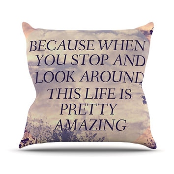 "Rachel Burbee ""Pretty Amazing"" Tan Sky Outdoor Throw Pillow"