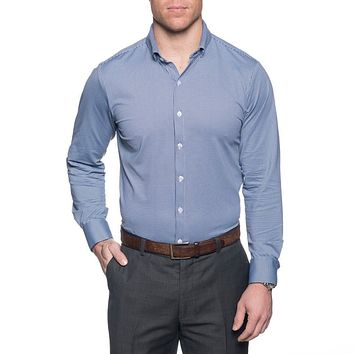The Spread Collar Gingham Dress Shirt in Beckett Blue by Mizzen+Main