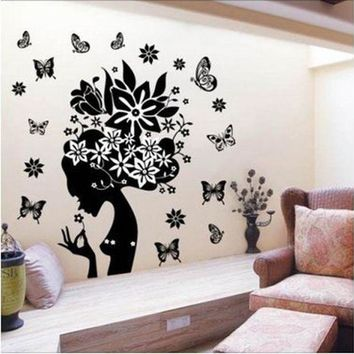 DCCKU7Q Super Deal 2015 stickers home decor wall sticker  adesivo de parede wall decals butterfly Flower  HYM02