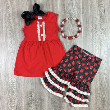 RTS Red Apple Polka Dot Set With Lace