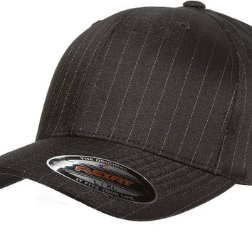 6195P Flexfit Pinstripe Fitted Baseball Blank Plain Hat Ballcap Cap Flex Fit