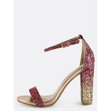 CREYM83 Single Strap Glitter Sequin Chunky Heels Blush