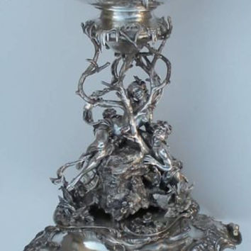 Extraordinary Circa 1900 Art Nouveau Austrian Hungarian Fairies Mermaid Silver Art Center Piece Stand Top Tray !