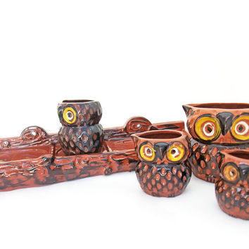 Vintage Ceramic Owl Measuring Cup Set with Log Rack Japan