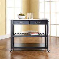 Stainless Steel Top Kitchen Cart Island in Black Finish on Casters