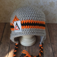 Crocheted Allis Chalmers Inspired Ear Flap Hat