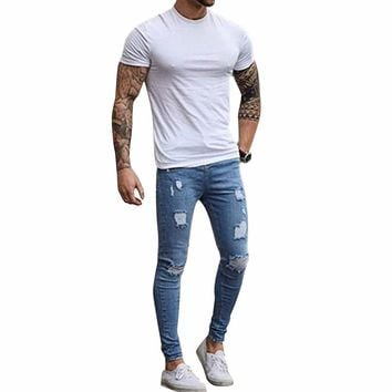 Fashion Destroyed Torn Pants Men's Pant Zipper Skinny Jeans (Blue)