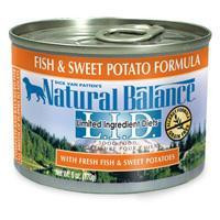 Natural Balance Limited Ingredient Diets Fish& Sweet Potato Canned Dog Food 12-6 oz.