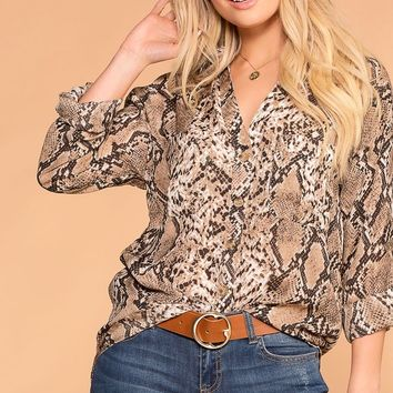 Serena Snakeskin Button Up Long Sleeve Top