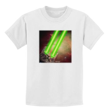 Laser Eyes Cat in Space Design Childrens T-Shirt by TooLoud