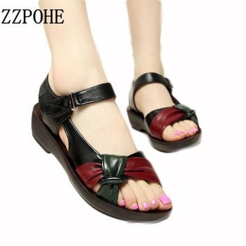 ZZPOHE 2017 summer Mother shoes flat sandals women aged leather Soft bottom mixed colo