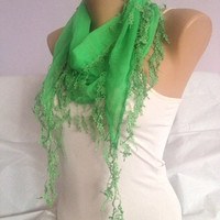 Green Scarf - Lime Green Lace Scarf - Wedding scarf Shawl - Bridesmaid Gift