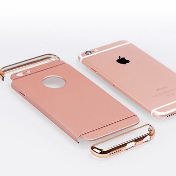 2018 Luxury Shock proof Armor Cover Removable 3 in 1 Combo Hard Plastic Case For Iphone X 8 7 6 6s 7plus 5S SE Rose Gold Case