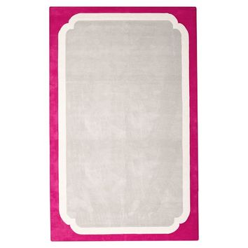 Color Pop Border Rug, 5x8, Pink Magenta