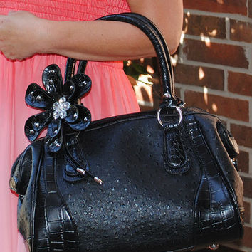 Black Satchel with Beads and Bling Flower