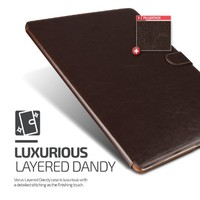 Verus iPad Pro Case, VRS Design [Layered Dandy][Coffee Brown] - [Auto Sleep/Awake][Kickstand Leather Cover] For iPad Pro 12.9