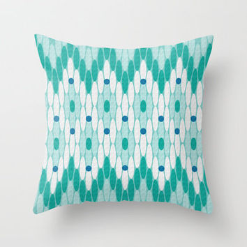 Ikat Chevron Teal Throw Pillow by Shawn Terry King