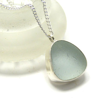 Pale Blue Sea Glass Pendant Necklace, Bezel Set Necklace, Seaglass Pendant, Beach Glass Necklace, Seaglass Jewellery, JULEE