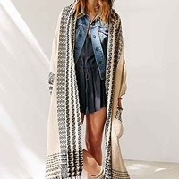Oversized Patterned Hooded Open Poncho- Black & White One