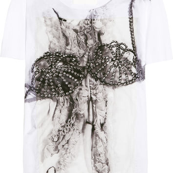 Maison Margiela - Printed silk-appliquéd cotton T-shirt