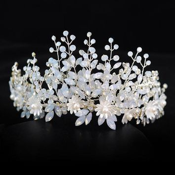 White Silver Floral Wedding Tiara Crystal Bride Crown Cosplay