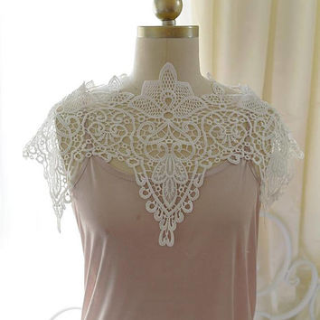 Off White Lace Cape Shawl , Wedding bridal capelet beautiful White Lace Sheer Crop Top Boleros Shrugs Boho Bohemian Marie Antoinette