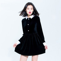 Casual Black Doll Collar Button Down Long Sleeve Mini Skater Dress