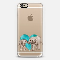 BABY ELEPHANT LOVE ON TEAL WATERCOLOR | WOOD iPhone 6 case by Perrin Le Feuvre | Casetify