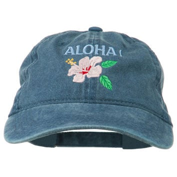 Hawaii Flower Aloha Embroidered Washed Cap