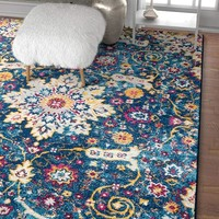 6947 Blue Vintage Distressed Oriental Area Rugs
