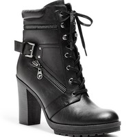 Gogi Heeled Lace-Up Boots | GuessFactory.com