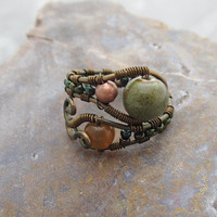 Boho Adjustable Copper Wire Wrap Ring in mossy colors
