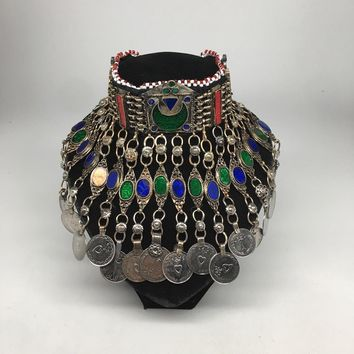 Antique Afghan Kuchi Choker Tribal Multi-Color Glass Jingle Coins Necklace,Ck164