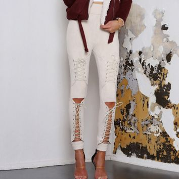 Autumn and winter new fashion straps hollow Slim casual trousers