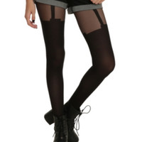 Black Faux Garter Tights