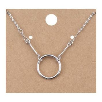 CHIC Minimalist 18kt White Gold Plated Round Ring Pendant Petite Dainty Necklace