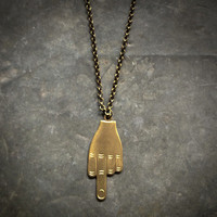 Fuck You Necklace - The Finger - The Bird - Flip Off Brass