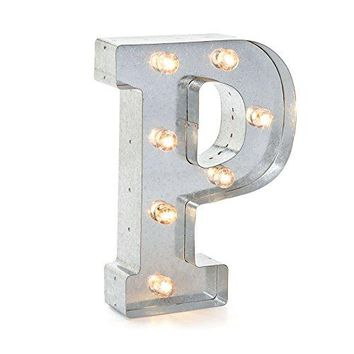 """Darice Silver Metal Marquee Letter 9.875""""-P"""