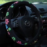Black Floral Steering Wheel Cover