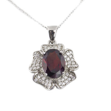 Natural Gem Garnet vintage necklace