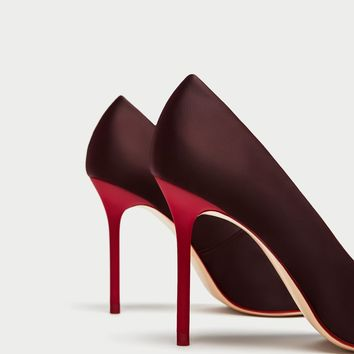 SATIN COURT SHOES WITH CONTRASTING HEELS - View all-SHOES-WOMAN | ZARA United States
