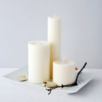 White candles, minimalist candles, a set of three soy pillar candles, unscented ecofriendly candles.