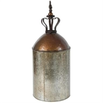 Antique Style Glass and Metal Lidded Canister Jar, Gray And Copper