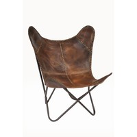 Safari Leather Riveted Butterfly Lounge Chair