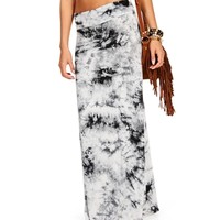 White/Gray Tie Dye Maxi Skirt